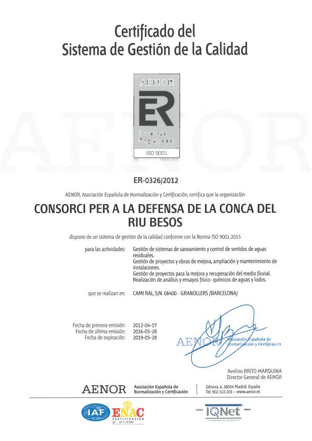 Certificat del Sistema de Gestió de la Qualitat