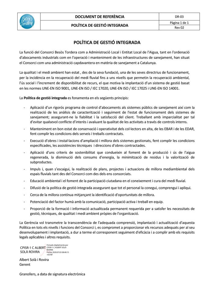 DECLARACIÓ DE COMPROMÍS D'IMPARCI